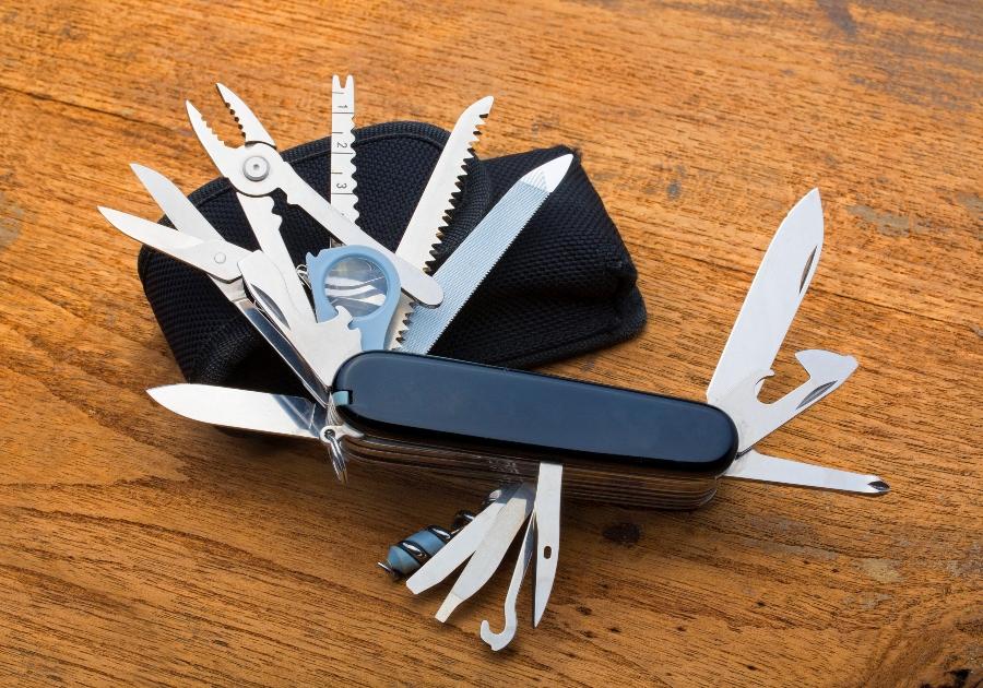 Knife multi-tool, isolated on white background