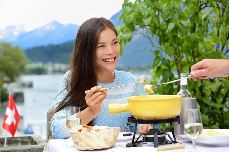 woman eating fondue