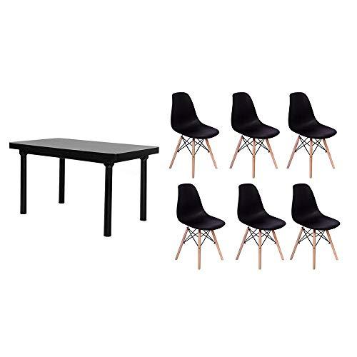 Kit Mesa De Jantar França 160x80 Preta + 06 Cadeiras Charles Eames - Preta