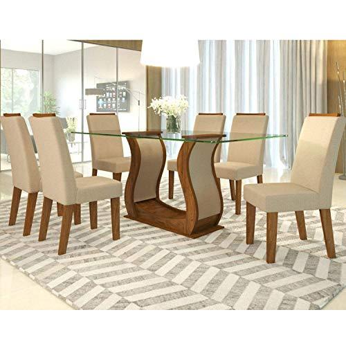 Conjunto Sala de Jantar com 6 Cadeiras Guess Espresso Móveis Pinho/linho Ameixa