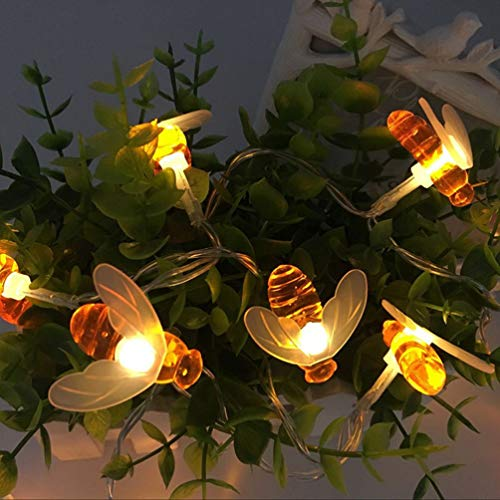 LED 20 peças 2 m piscando 20 luzes LED corda em forma de abelha cintilante, luz noturna decorativa alimentada por bateria para quarto, interior e exterior quente branca