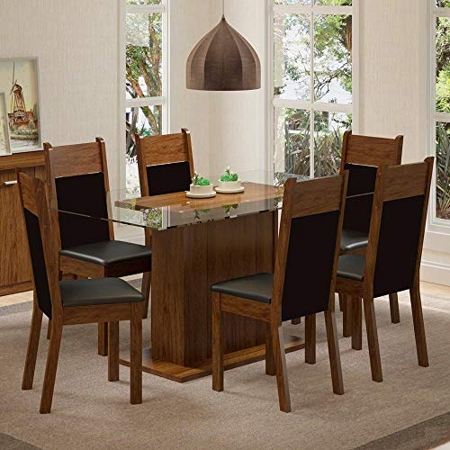 Conjunto Sala de Jantar Mesa 6 Cadeiras Atlanta Madesa Rustic/Preto