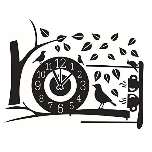 CNmuca Árvore de design exclusivo e padrão de relógio Adesivos removíveis de papel de parede 3D autoadesivos Quarto Decoração para casa Decalques de parede artísticos pretos