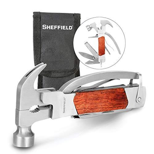 Sheffield 12913 martelo multiferramenta premium 14 em 1, ferramenta multiuso para casa, equipamento de acampamento e trabalho, martelo, alicate, faca de sobrevivência e mais, vermelho, pequeno