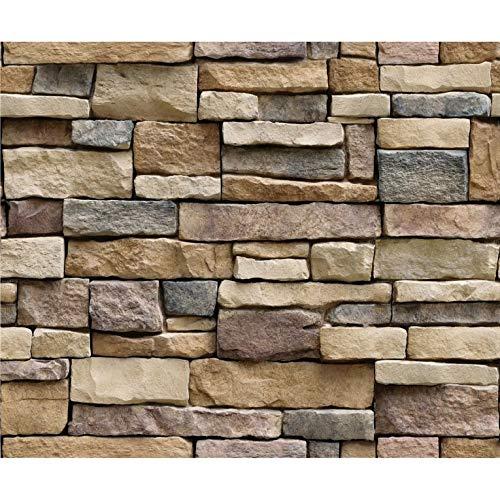 CNmuca Papel de parede de tijolo de pedra 3D removível adesivo de parede de PVC decoração de casa papel de parede de arte para quarto decalque de fundo da sala de estar marrom